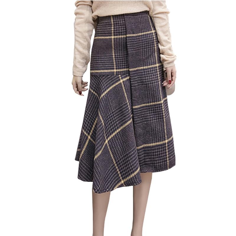 2019 Autumn Winter Women Ruffles Plaid Skirts Womens Fashion Asymmetrical Empire Steam Punk Skirt Mid-calf A-line Wool Skirt
