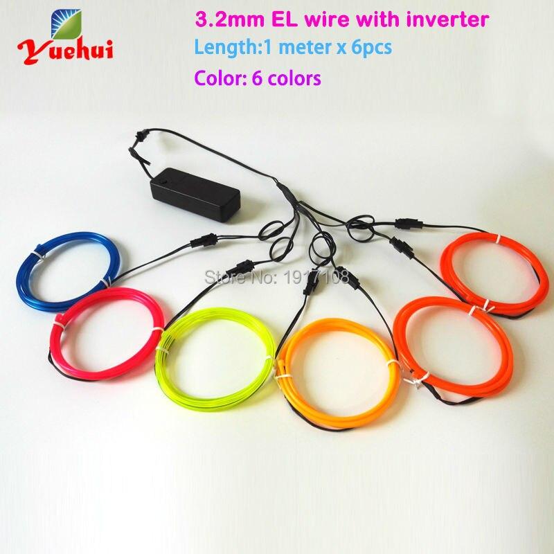 3.2mm 1Meter x 6pieces multicolor flexible EL wire ...