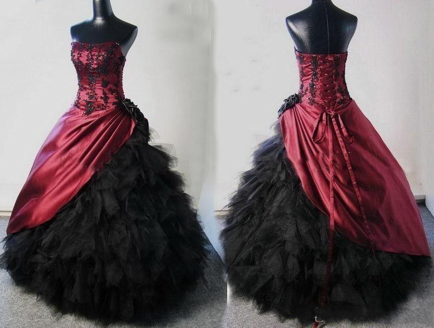 Burgundy Black Gothic Wedding Dresses Halloween Real Photos Appliqued Black Ruffle Tulle Floor Length Custom Made Bridal Gowns