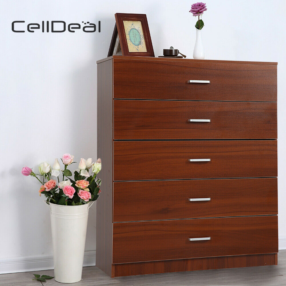 Chest Of Drawers Walnut 5 Drawer Metal Handles Runners Bedroom Furniture Wooden Drawers Livingroom Furniture Storage Cabinet