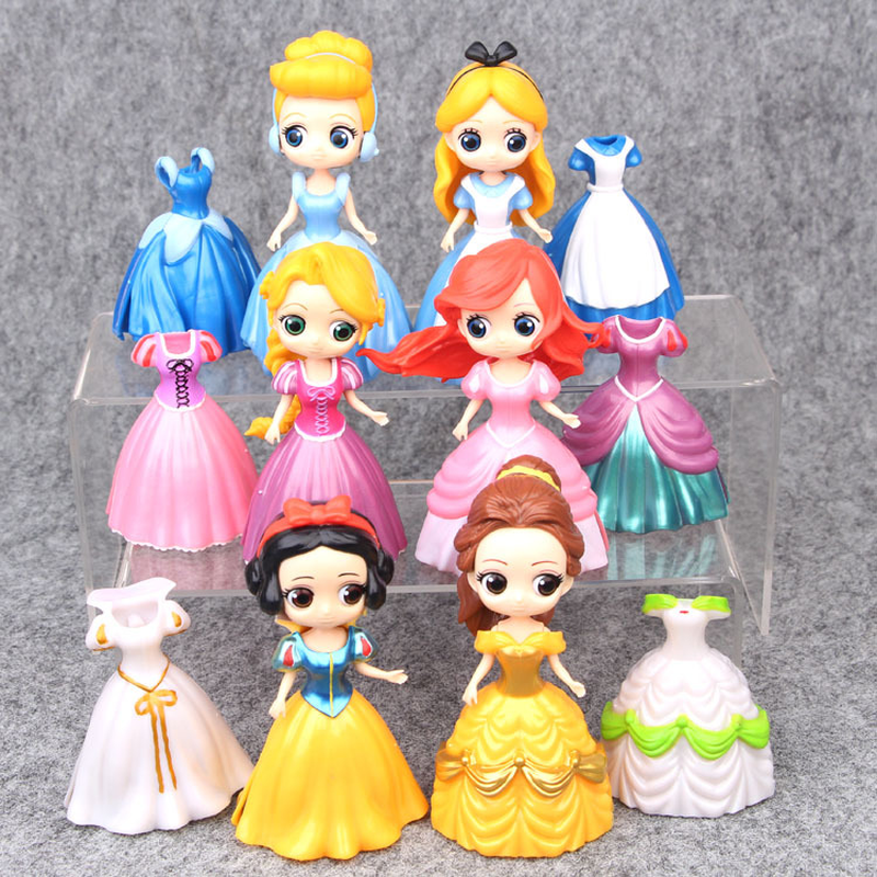 Disney Princess Belle Alice Cinderella Mermaid Snow White Action Figures Beauty and The Beast PVC Model Princess Toys 11pcs set disney princess toys cinderella belle mermaid ariel sofia snow white fairy rapunzel action figures disney doll gift