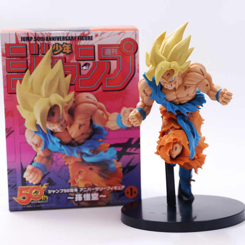 Anime dragon ball z son goku super saiyan assalto 50th aniversário comemorativo ver figura de ação pvc dbz collectible modelo