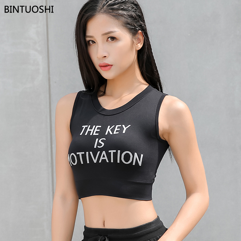 BINTUOSHI Yoga Vest Women Letter Sport Tank Top+Breast Pad One-Piece Suits Gym Sleeveless Running Shirt Quick Dry Fitness tops
