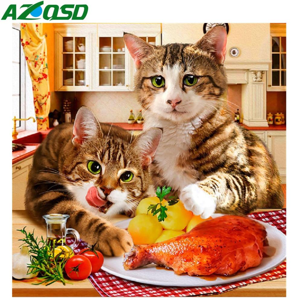 """Azqsd полный квадратный/круглый дрель 5D DIY Алмазная картина """"Кошка еда"""" 3D вышивка крестиком животное 5D домашний Декор подарок"""