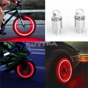 2 ピース/セット赤、青バイク bicyclea 耐久性のある車ホイールタイヤのバルブは、ネオンランプ自転車ライト自転車アクセサリー