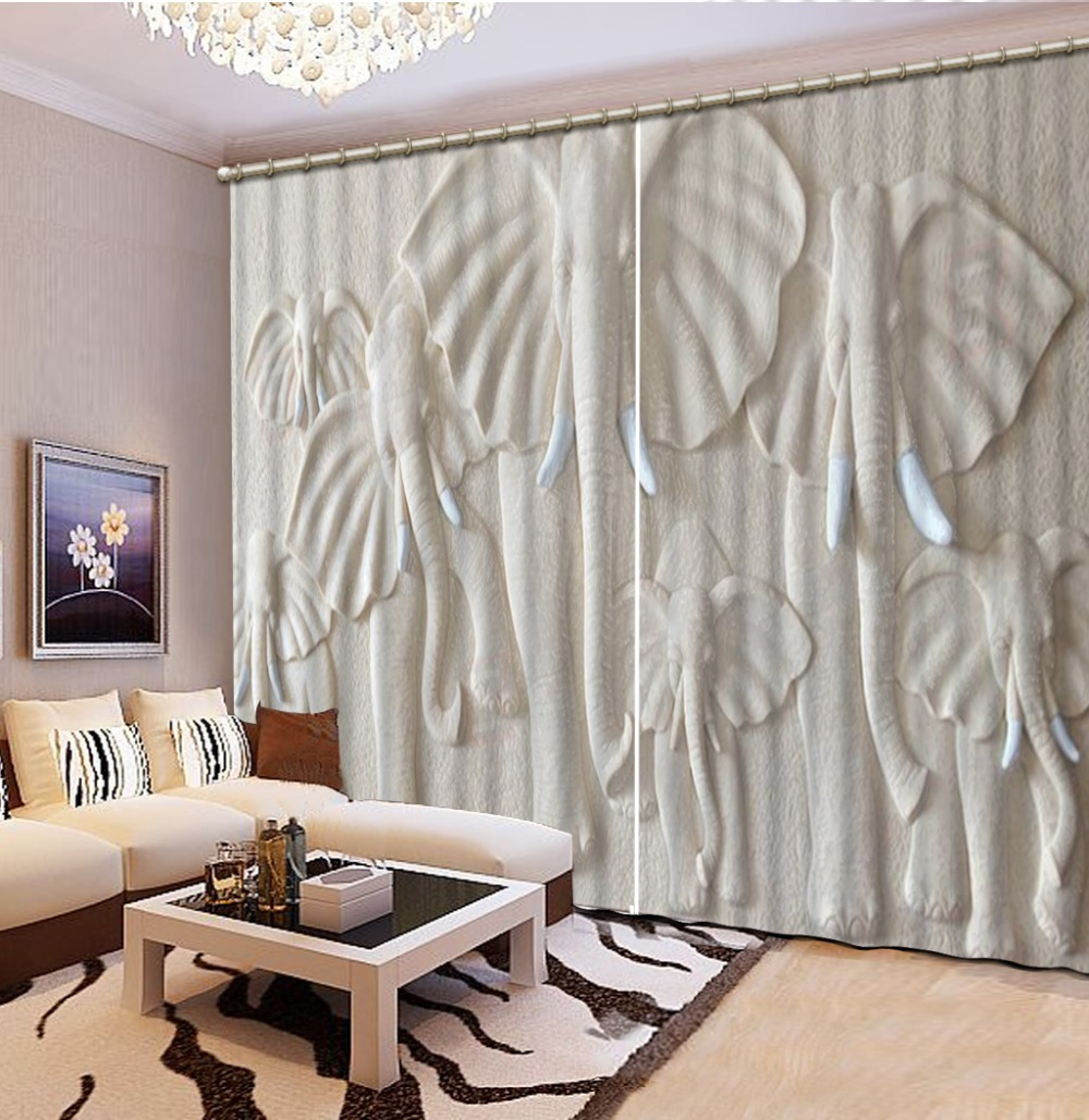 High quality custom European 3D Curtains angel design Curtains For Living Room Bedroom elephant curtains