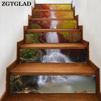 6Pcs/set 3D Waterfall Stair Stickers for Home Room Bedroom Decoration Simple Creative Waterproof Wall Decals Stair Wallpaper