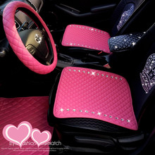 Fashion Crystal Diamond Universal Leather Car Seat Covers Interior Decoration PVC Front Back Rear Seats Covers