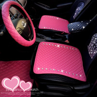 Fashion Crystal Diamond Universal Leather Car Seat Covers Interior Decoration PVC Front Back Rear Seats Covers Sets Accessories