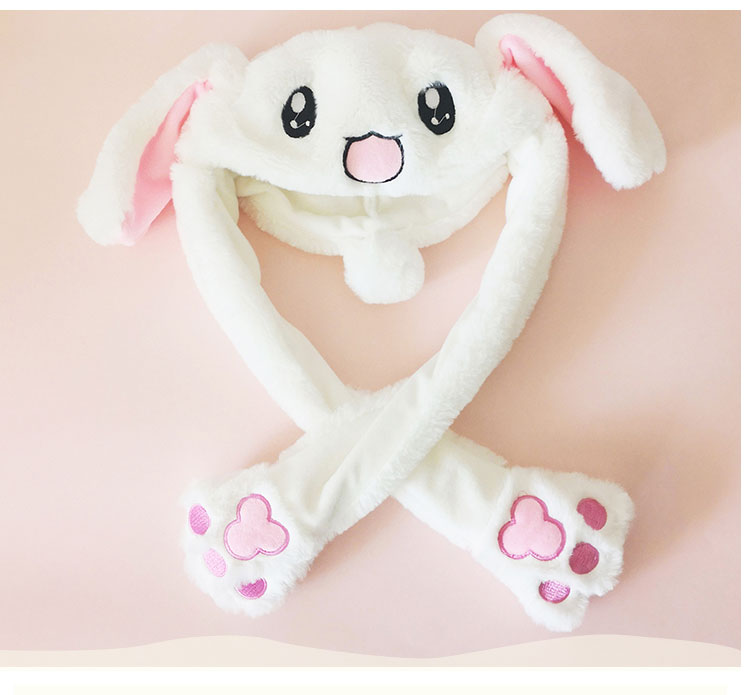65737e5c8 winter hats for kids girls rabbit hat ear move funny white rabbit hat  Christmas birthday gift