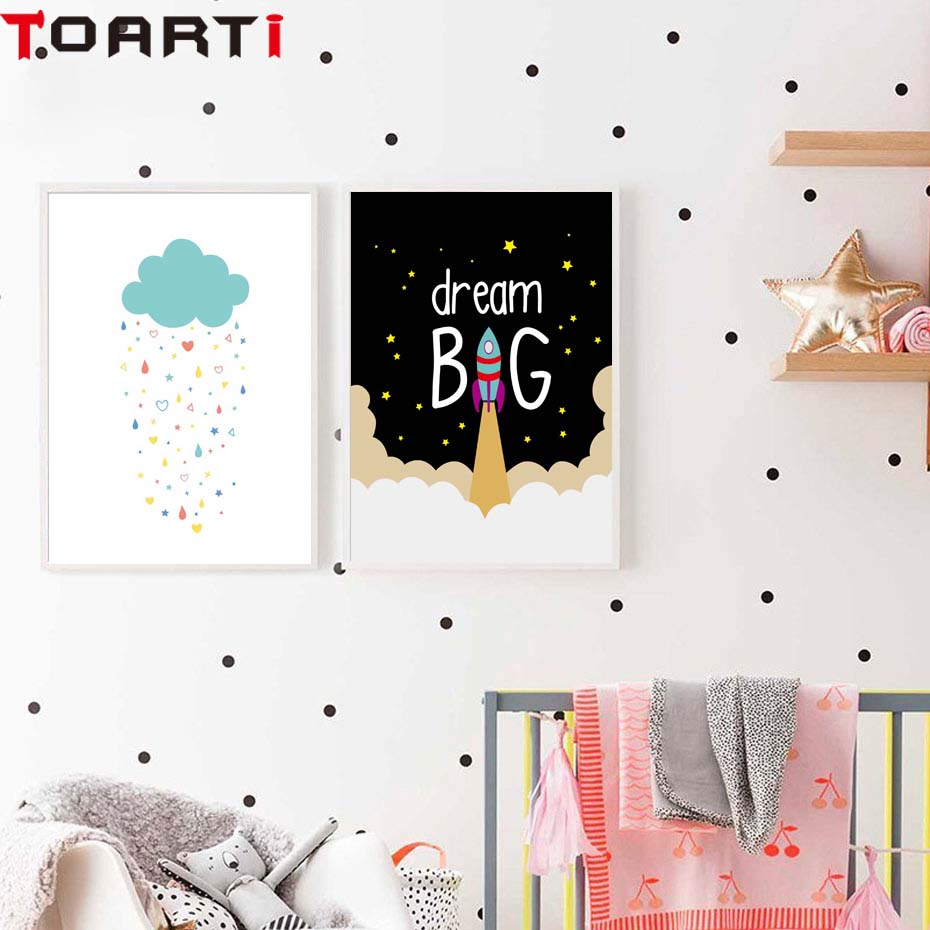 Cartoon Wall Poster Dream Big With Rocket Wall Art Prints Canvas Painting For Nursery Kids Bedroom Wall Picture Home Ornaments (3)