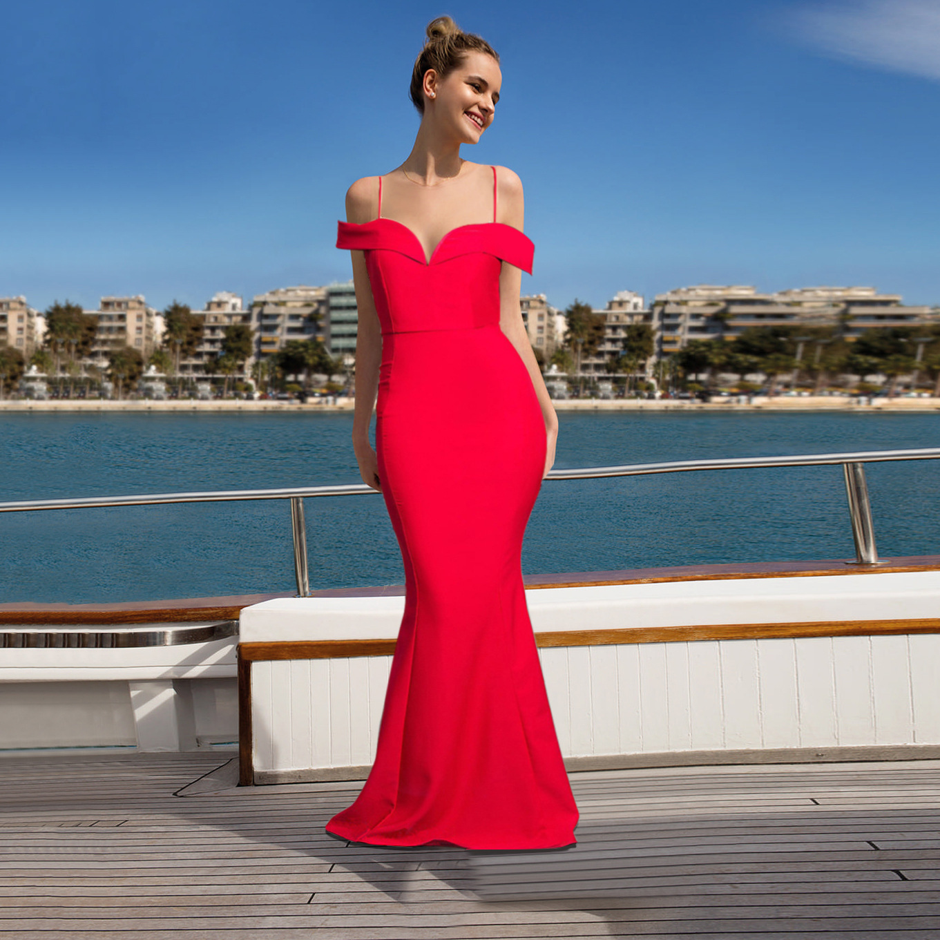 Spaghetti Strap Mermaid Long Red Dress for Evening Party Elegant Slim Bodyon Floor Length Bride Dresses Vintage Women Dress