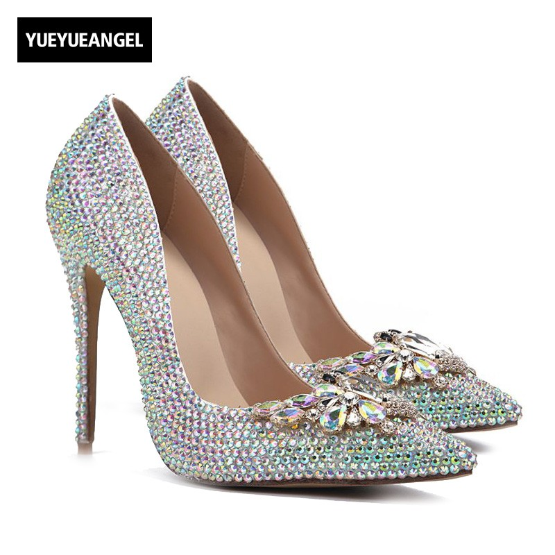 Hot Sale Fashion Women High Heel Shoes Ponited Toe Slip On Crystal Decoration Femme Wedding Shoes For Women Sexy Party Pumps women wedding silver shoes crystal sequins decor pumps lace slip on bridal super high heel round toe sexy ladies party shoes