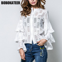 BOBOKATEER White Lace Blouse Women Blouses Long Sleeve Shirts Women Tops Camisas Femininas Manga Longa 2017