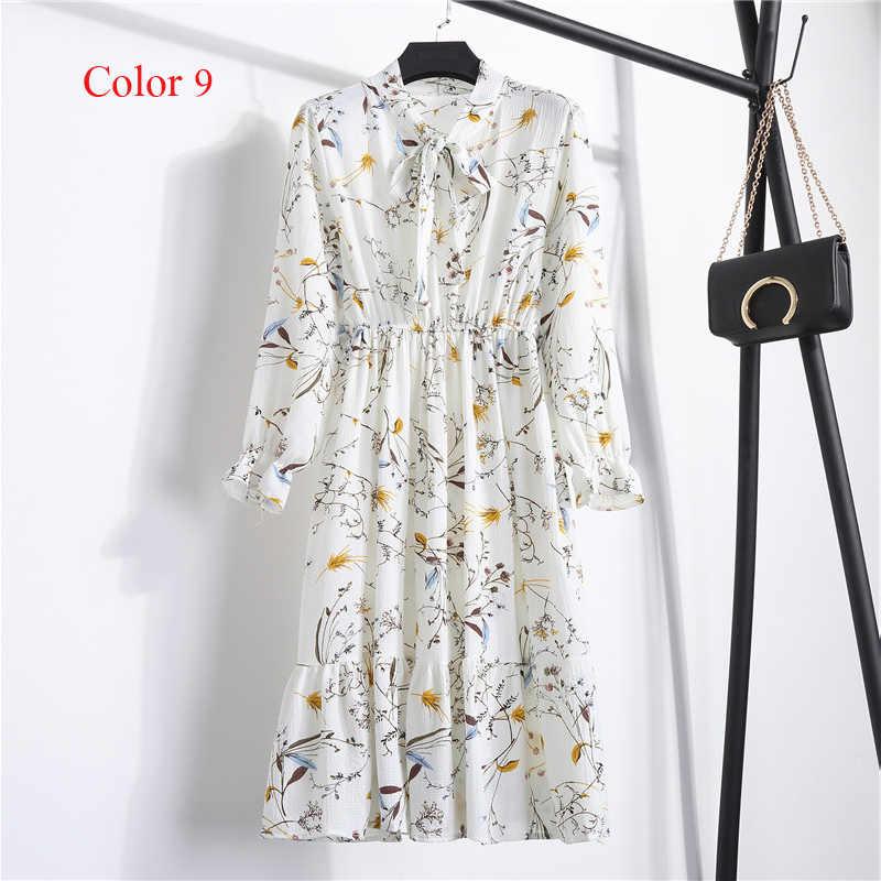 Chiffon cintura alta elástica vestido de festa arco a linha feminina manga cheia flor impressão floral boêmio vestido feminino plus size
