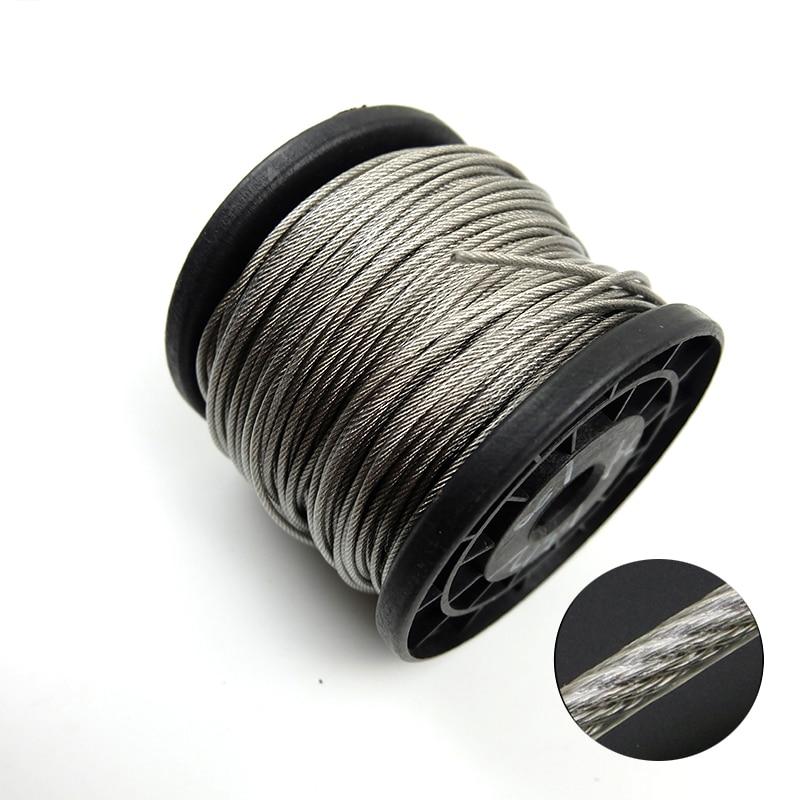 100 미터 304 스테인리스 0.6/0.8/1/1. 2/1. 5/2mm 스틸 PVC 코팅 유연한 와이어 로프 소프트 케이블 투명 빨랫줄