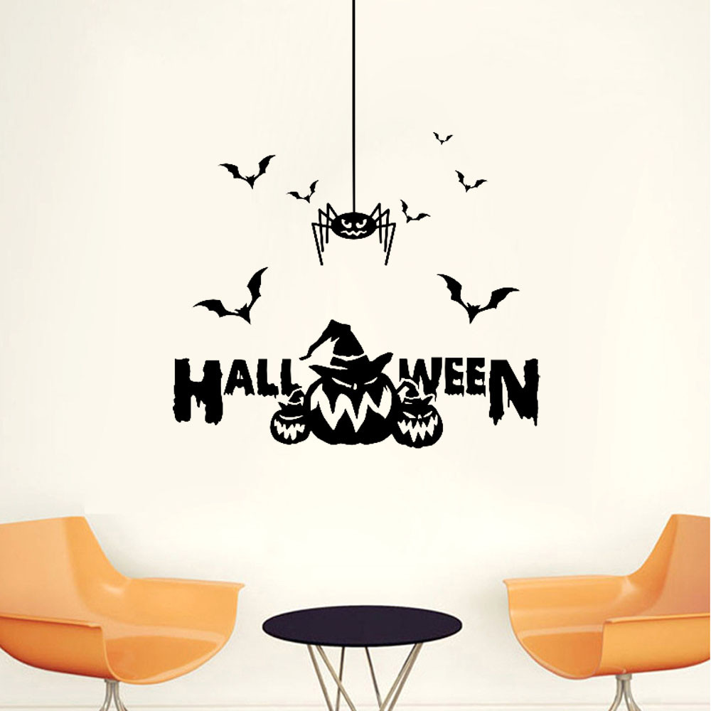 Vintage halloween window decorations - 2017 Halloween Witch Bats Wall Sticker Window Home Decoration Vintage Home Decor Wallpaper Deluxe Wall Sticker