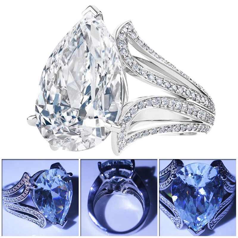 Big Blue Pear Cubic Zircon แหวนแฟชั่นผู้หญิงหมั้นเครื่องประดับของขวัญวันวาเลนไทน์