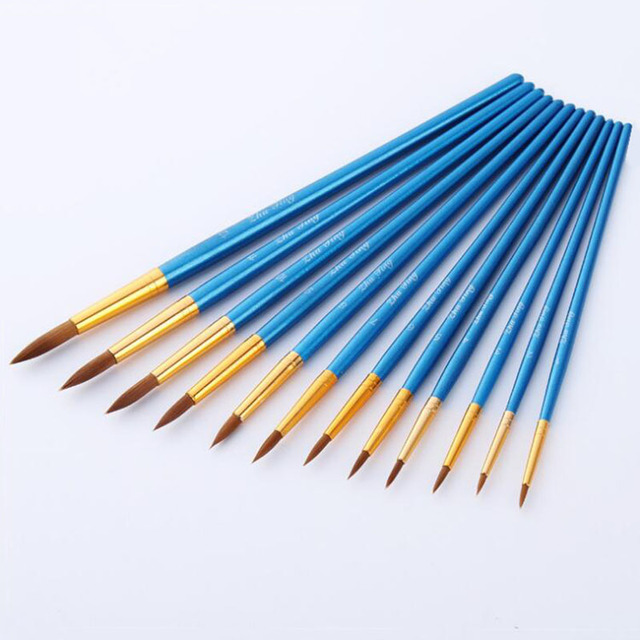 12Pcs Paint Brushes Set Nylon Hair Different Size Artist Fine Oil Painting Brush for Watercolor Acrylic Drawing Art Supplies