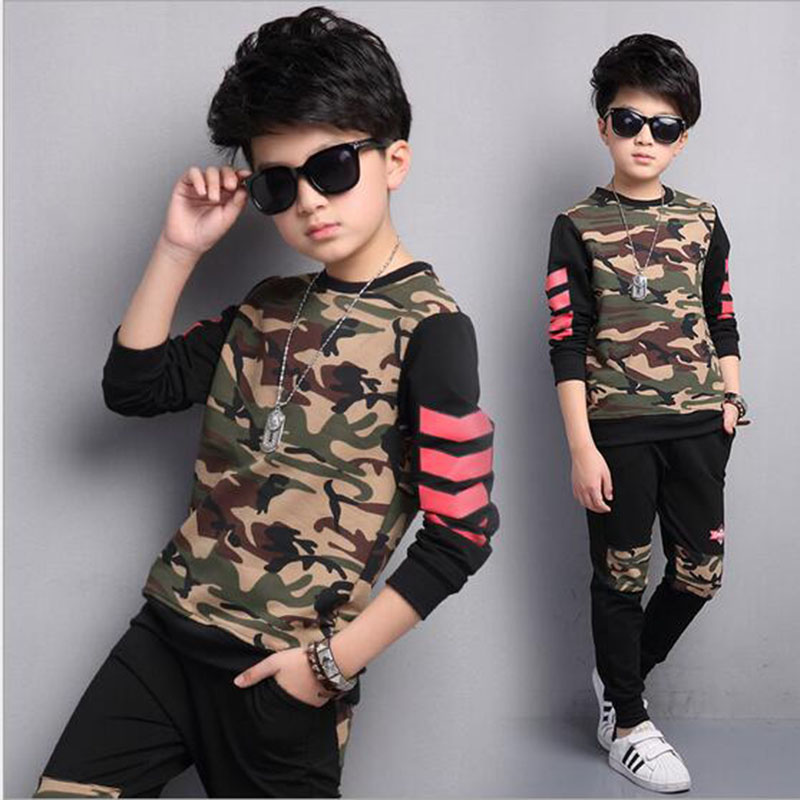 Autumn Korea Style Boys Set Children Suit 2017 New Girls Tracksuit Cotton Camouflage Two Piece Clothing kids Sets Clothes Suit