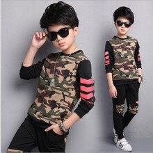 Coreia Do Estilo de outono Roupas Crianças Outono 2017 Novos Meninos Camuflagem De Algodão de Duas Peças de Vestuário crianças Roupas de Treino Terno 1756