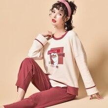Autumn Winter Pyjamas Women Long Sleeve Cotton Pajama Set Sleep Lounge