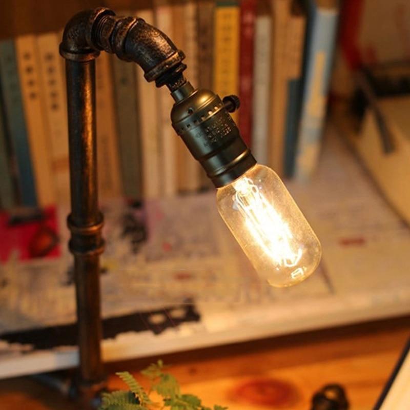 E27 Industrie jahrgang wasser rohr schreibtischlampe café studie restaurant lesen schreibtischlampe