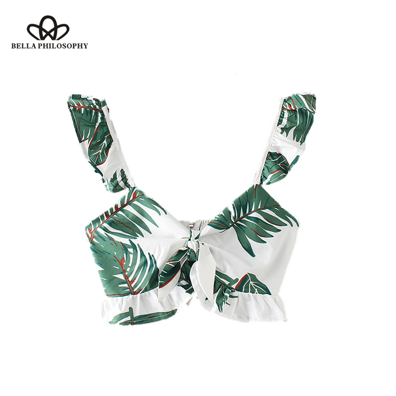 Bella Philosophy V neck leaves pattern crop tops blouses bow tie back zipper straps sleeveless shirt female summer chic blusas