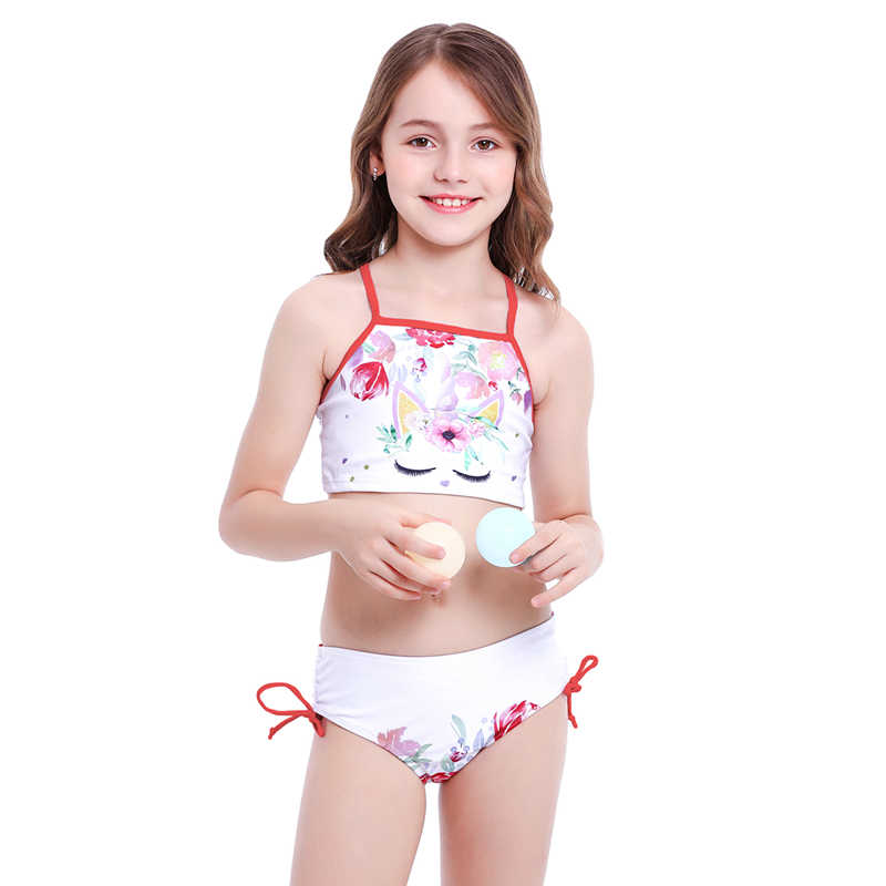 Kids Girls Cartoon Unicorn Swimwear Bikini Set Summer Swimming Costume Beachwear