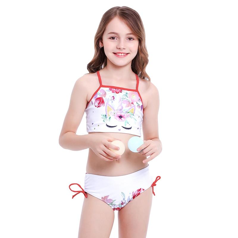 Kids Girls Unicorn Printed Swimsuit Swimwear Swimming Costume Beach Bathing Suit