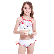 Cute Kids Girls Bathing Suit Swimwear Halter Tops and Bottom 2pcs Bikini Unicorn Flower Print Swimming Costume Girls Swimsuit girls unicorn print ruffle trim swimsuit