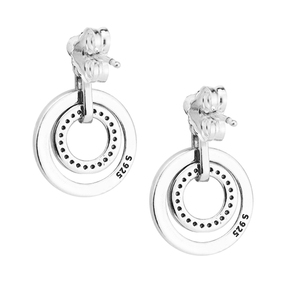 Image 4 - Circles Drop Earrings with Clear CZ Original 925 Sterling Silver Jewelry Fashion Earrings for Women DIY Charms Beads Jewelry