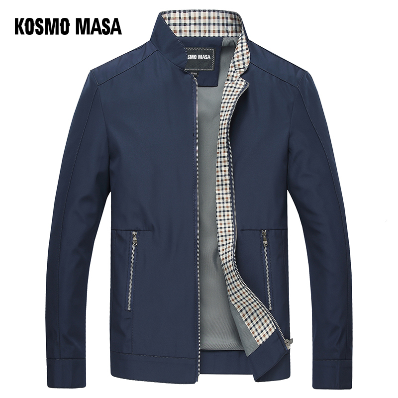 Image 3 - KOSMO MASA Black Jacket Mens Autumn Spring 2018 Man Thin Jackets Windbreaker Collar Stand Casual Jacket for Men Outwear MJ0066-in Jackets from Men's Clothing