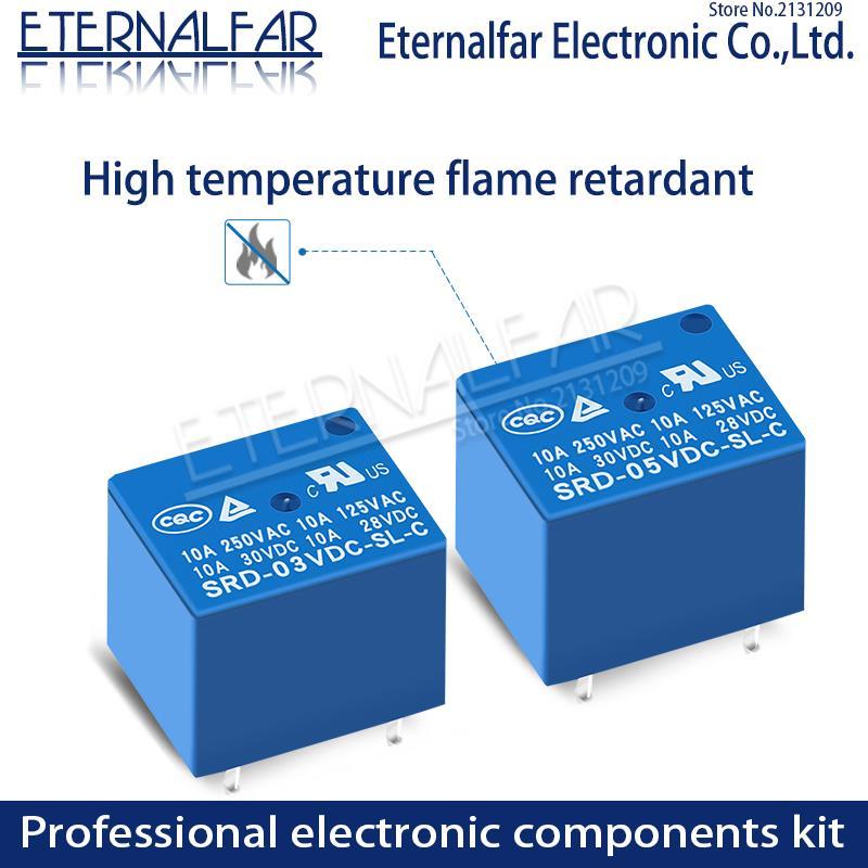 Time Relays SRD-24VDC-SL-C 5V 6V 9V 12V 24V 48V DC 10A 125V 250V AC SPDT NO Typc A 4PIN B-M C 5PIN PCB T73