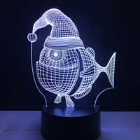 Fat Fish Design 3D Holiday Light Touch switch LED Lamp Home Decoracion 7 Colors Change Nightlight Gift T0.2