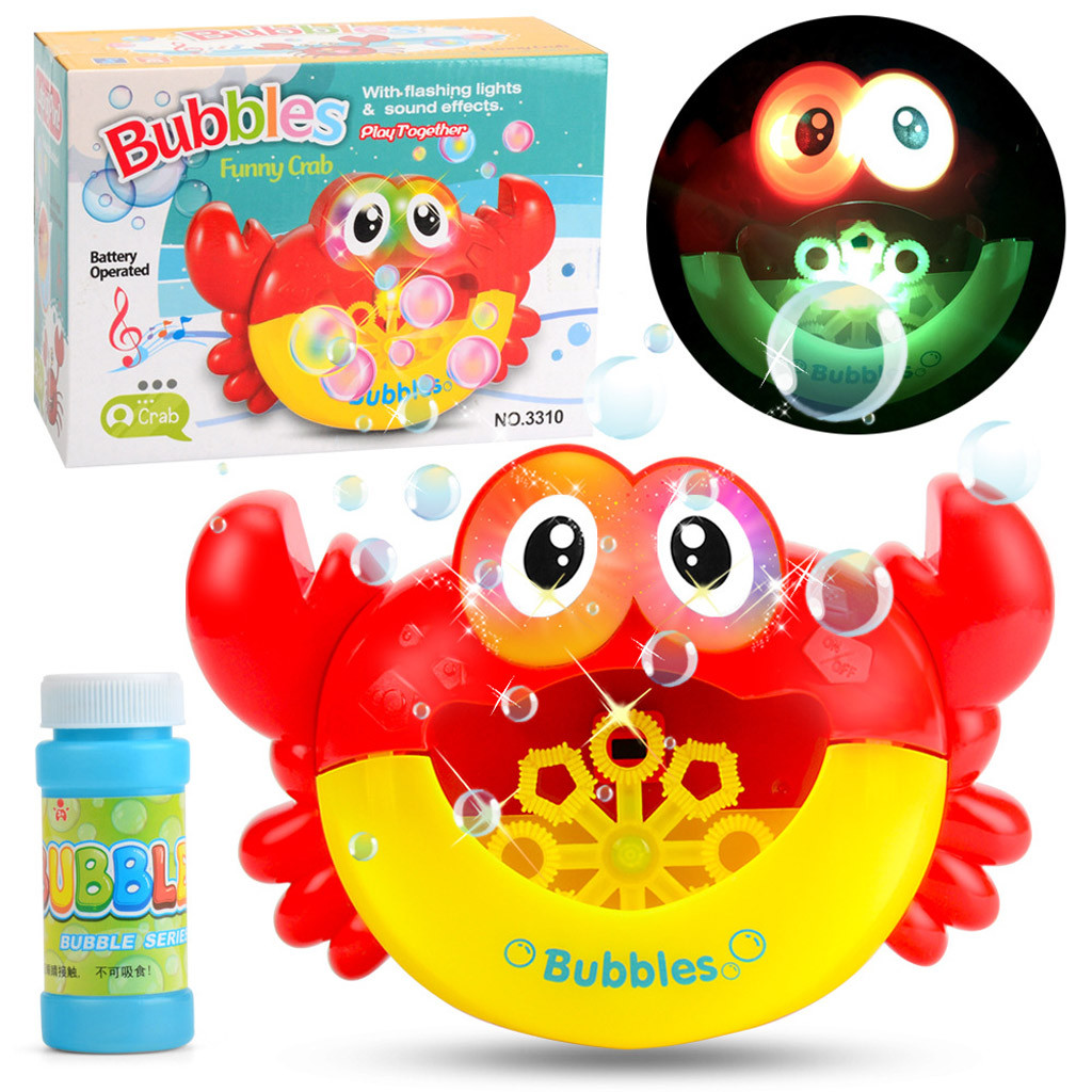 2019 Beautiful Cartoon Crab Automatic Bubble Maker Machine Toy Blowing Soap Bubbles For Kids Smooshy Mushy Cute Toys