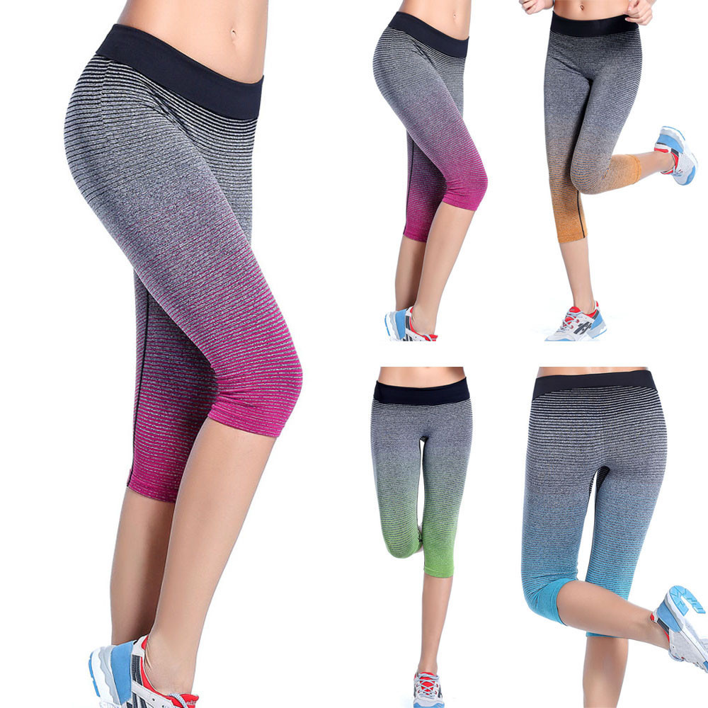 834f3da5568a0 Gradient Women Sports Yoga Pants Elastic Tights color change lady running  trousers Legging lady Capri pants for sports sale