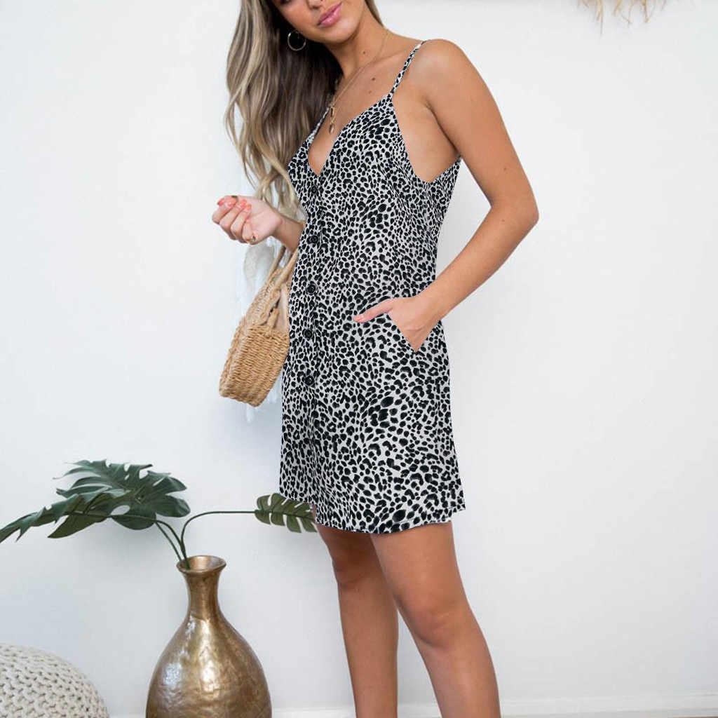 Женское сексуальное модное открытое леопардовое Платье с принтом и пуговицами, Повседневное платье, сексуальное женское мини-коричневое платье с вырезом лодочкой и коротким рукавом, сарафан