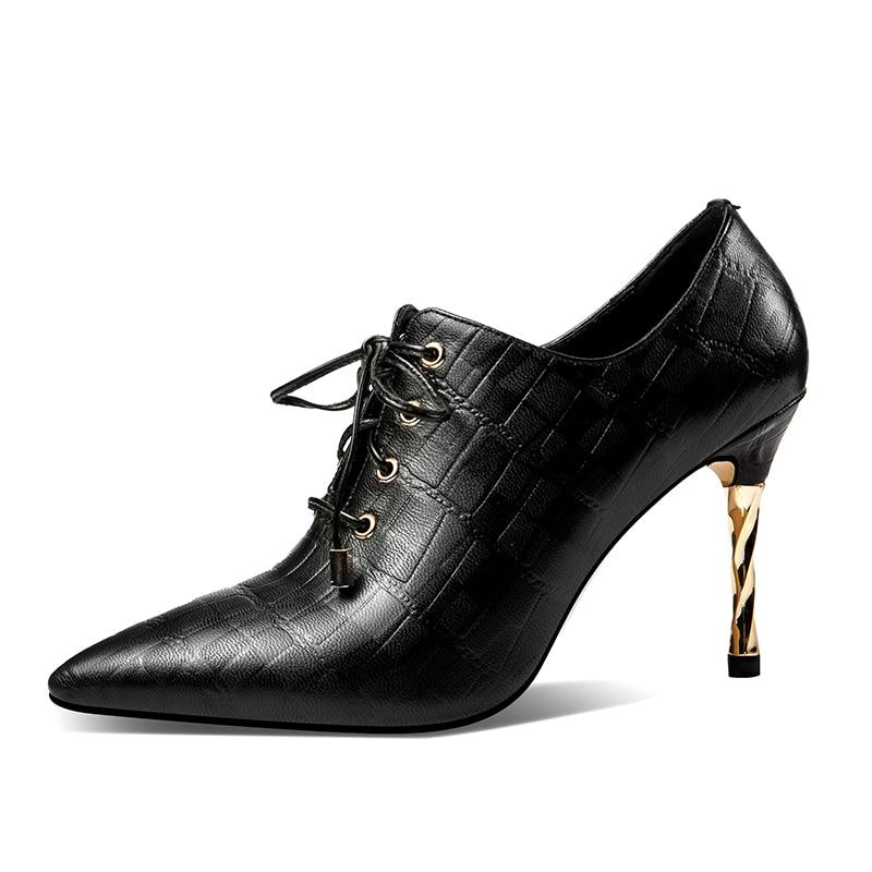 ISNOM Relief High Heels Pumps Frauen Lace Up Spitz Schuhe Mode Kuh Leder Schuhe Weibliche Büro Schuhe Frau 2019 frühling-in Damenpumps aus Schuhe bei  Gruppe 3