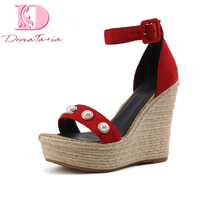 2018 large Size 33-40 Brand Summer Sandals Shoes Women wedge High Heels Platform buckle strap Party Wedding Woman Shoes newly arrival woman sandals fashioned in the concise design and unique pattern grey wedge sandals high heels buckle strap type