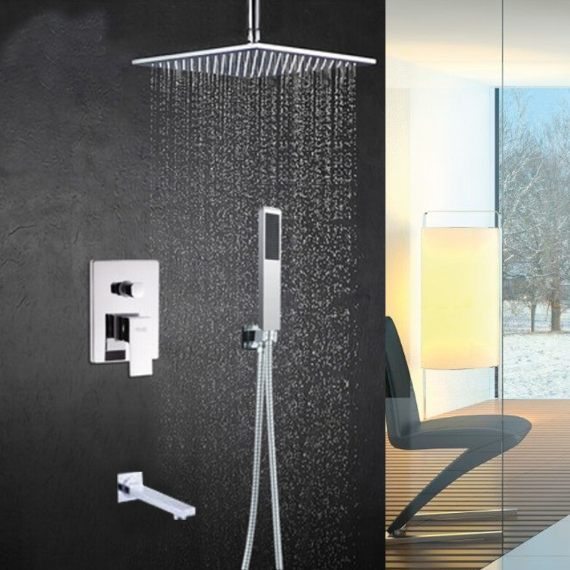 Ceiling Mount Chrome Square Square Rain Shower Head Valve Mixer Tap Hand Unit new chrome 6 rain shower faucet set valve mixer tap ceiling mounted shower set