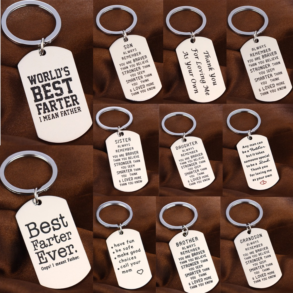 Family Son Daughter Dad Mon Keychain Stainless Steel Dog Tag Charms Keyring  For Women Men Sister Friend Key Chain Energy Gifts bf986d90cd