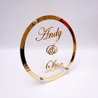 Круглый пользовательское свадебное имя персонализированное зеркало рамка акриловая Babyshower слова знак круг Форма вечерние декор с ногтей го...