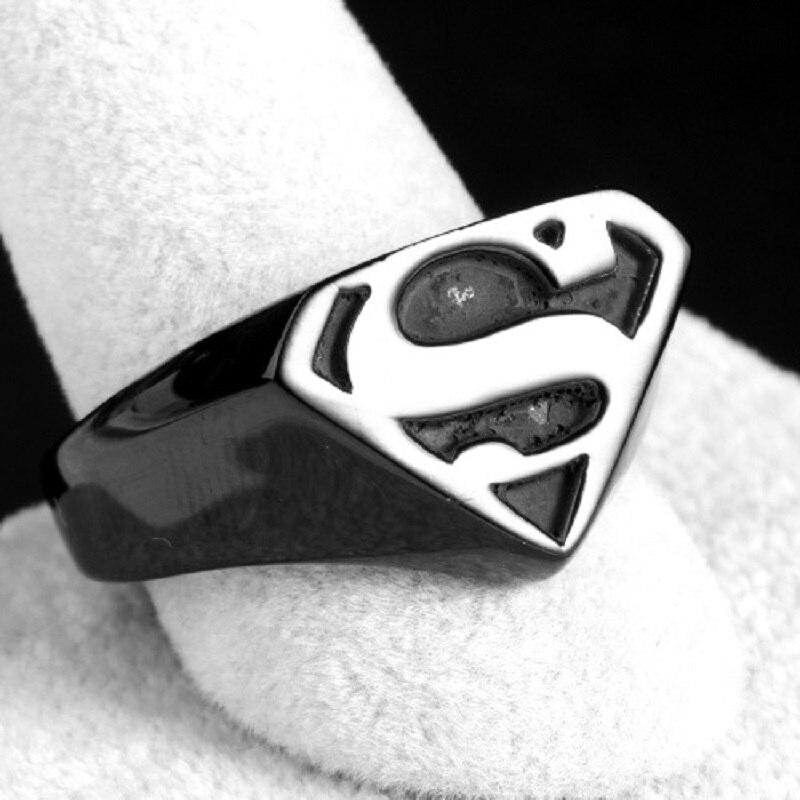 New Cool Black Superman Superhero Smbolo Dos Homens Anel De Ao