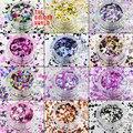 MRT-002 Mezclar Colores formas de Punto redondo Del Brillo para el arte del clavo, gel de uñas, maquillaje y decoración DIY Embalaje por la bolsa de plástico