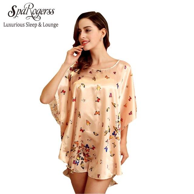 SpaRogerss Women Bathrobe Faux Silk Pijama 2017 Sleep Top Lounge ...