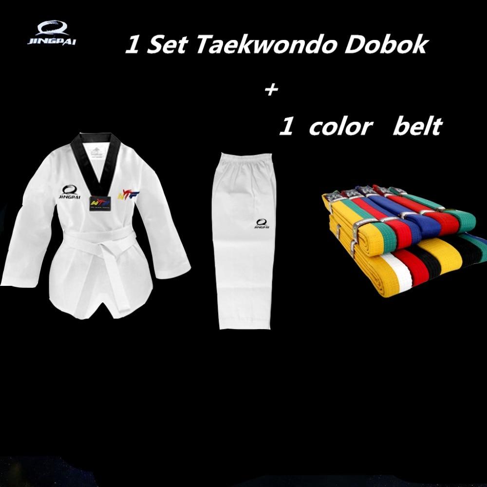 Новый тхэквондо WTF добок черный V для детей и взрослых Боевые искусства каратэ тхэквондо форма с Цвет ремень