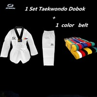 New WTF Taekwondo Dobok Black V For Kids Adult Martial Arts Karate Taekwondo Uniform with Color Belt