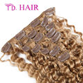 #18 7/8pcs set Brazilian clip in human hair extensions cheap human hair extensions Light brown brazilian human hair on sale
