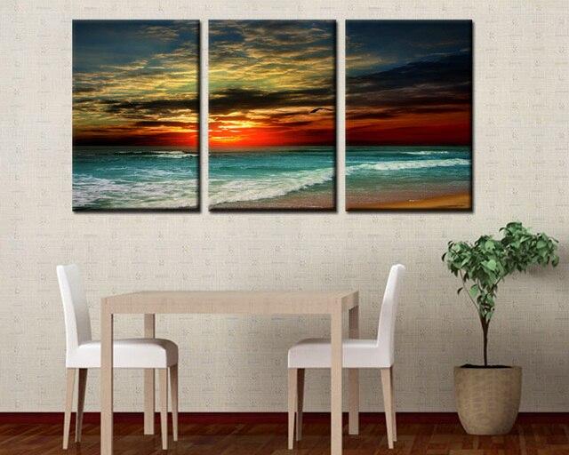 3Panels Set Sunset Beach HD Canvas Print Painting Artwork Decorative Beautiful Landscape